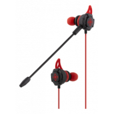 DELTACO GAMING In-ear headset, detachable microphone, double microphones, silicone wings, red