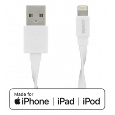 DELTACO Lightning cable, 1m, 2,4A, flat cable, MFi, white