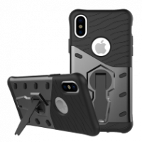 Sniper Case for iPhone X, rotating stand, cutouts for heat, dark gray