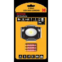 Kodak LED Headlamp, 300lm, 3 modes, 5W single LED, black