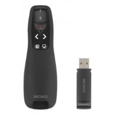 DELTACO Wireless Presenter with Laser pointer, plug and play, 15m range, black