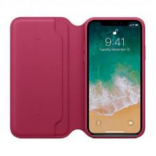 Apple iPhone X and Xs Leather Folio Original - Berry